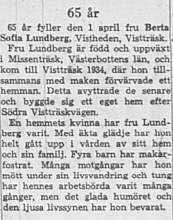 Lundberg Berta Sofia Vistheden 65 år 31 Mars 1964 NK