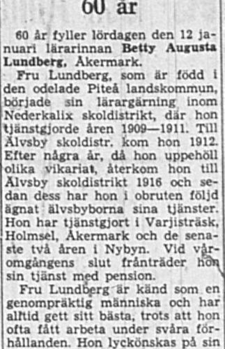 Lundberg Betty Åkermark 60 år 11 Feb 1949 NK