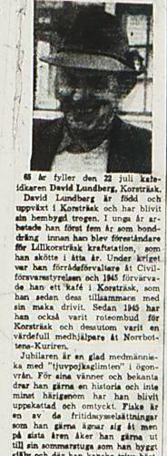Lundberg David Korsträsk 65 år 21 juli 1966 NK