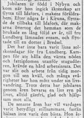 Lundberg Emelia Bredsel 70 år 7 Nov 1956 PT