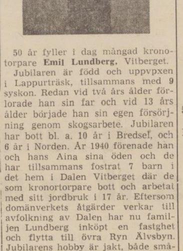 Lundberg Emil Vitberget 50 år 21 sept 1964 nfl