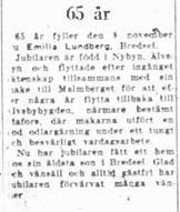 Lundberg Emilia Bredsel 65 år 8 nov 1951 nk