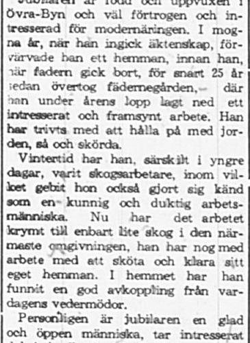 Lundberg Eskil Övrabyn 60 år 22 Maj 1965 PT