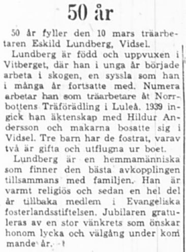 Lundberg Eskil Vidsel 50 år 9 Mars 1965 PT