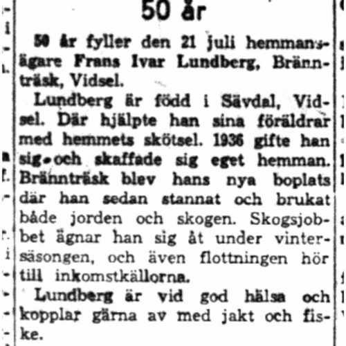 Lundberg Frans Ivar Brännträsk Vidsel 50 år 21  Juli 1958 Nk