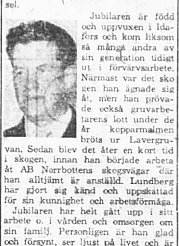 Lundberg Frans Sigurd Bredsel 60 år 29 April 1965 PT
