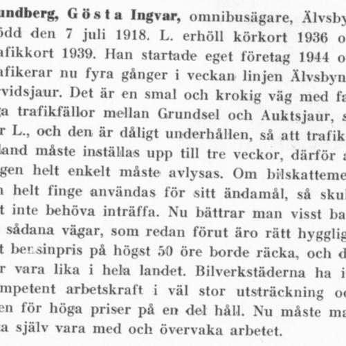 Lundberg Gösta Ingvar Älvsbyn Från boken Motorismen och dess män tryckt 1950