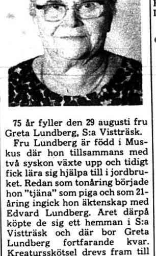 Lundberg Greta södra Vistträsk 75 år 28 Aug 1975 PT