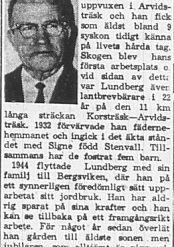 Lundberg Gunnar fd Arvidsträsk 70 år 24 Dec 1965 PT