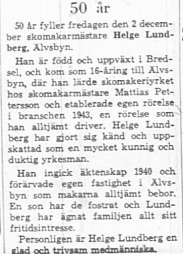 Lundberg Helge Älvsbyn 50 år 2 Dec 1966 NK
