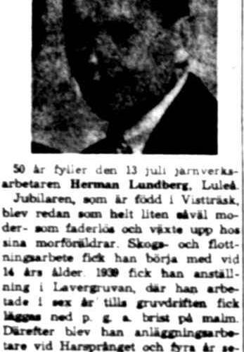 Lundberg Herman fd Vistträsk 50 år 13 Juli 1960 NK