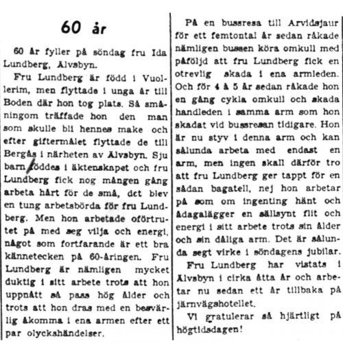 Lundberg Ida Älvsbyn 60 år 18  Aug 1949 PT