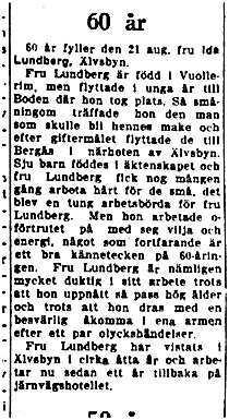 Lundberg Ida Älvsbyn 60 år 19 Aug 1949 NK
