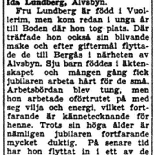 Lundberg Ida Älvsbyn 65 år 19  Aug 1954 NK