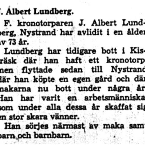 Lundberg J. Albert Nystrand Död 12  Aug 1958 NK