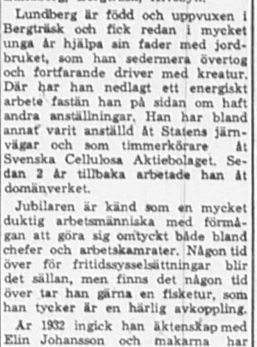 Lundberg Johan Bergträsk 65 år 17 Mars 1965 PT