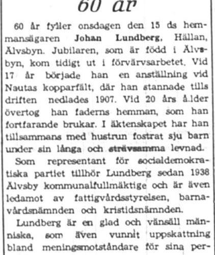 Lundberg Johan Hällan 60 år 15 Aug 1945 NK