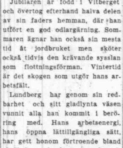 Lundberg Johan Vitberget 50 år 22 Sept 1951 NK