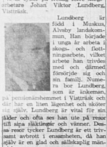 Lundberg Johan Wiktor Vistträsk 75 år 19 Mars 1964 NSD