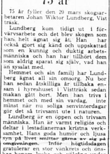 Lundberg Johan Wiktor Vistträsk 75 år 19 Mars 1964 PT