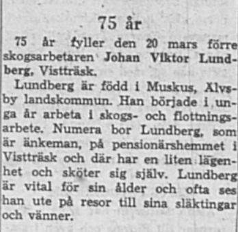 Lundberg Johan Wiktor Vistträsk 75 år 20 Mars 1964 NK
