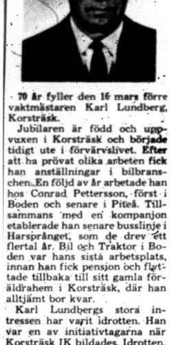 Lundberg Karl Korsträsk 70 år 15 Mars 1975 PT