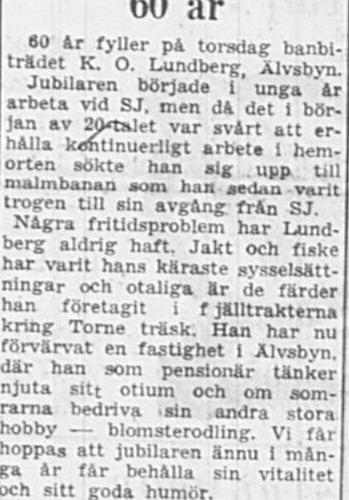 Lundberg Karl Oskar Älvsbyn 60 år 12 Dec 1956 PT