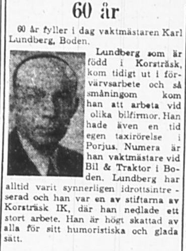 Lundberg Karl fd Korsträsk 60 år 16 Mars 1965 PT
