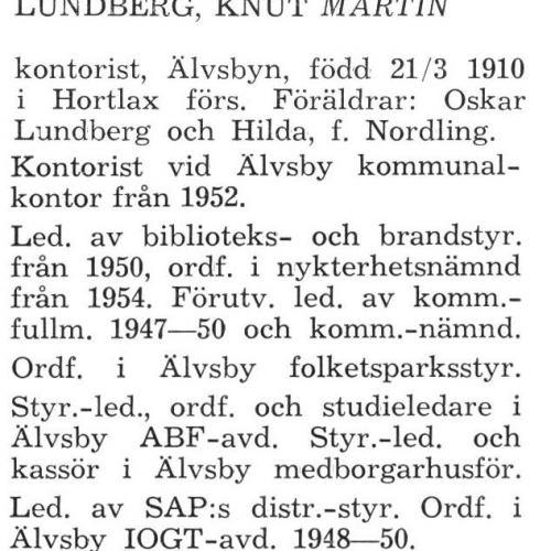 Lundberg Knut Martin Älvsby Köping 1957