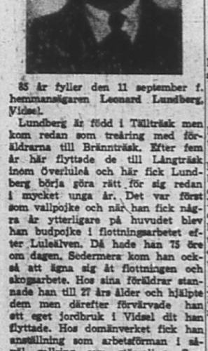 Lundberg Leonard Sävdal Vidsel 85 år 10 Sept 1965 nk