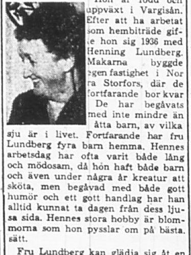 Lundberg Linnea Norra Storfors Bredsel 50 år 6 Mars 1965 PT