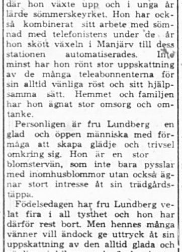 Lundberg Nancy Manjärv 50 år 13 April 1964 PT