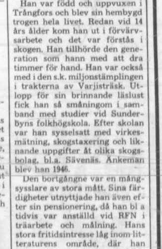 Lundberg Nils Bertil Trångfors död 29 Sept 1976 PT