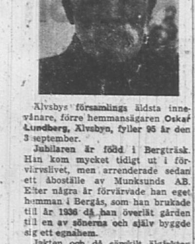 Lundberg Oskar Älvsbyn 95 år 2 Sept 1957 Nk