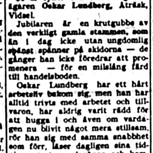 Lundberg Oskar Åträsk Vidsel 80 år 7 mars 1952 NK