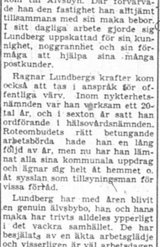 Lundberg Ragnar Älvsbyn 75 år 30 Sept 1957 PT