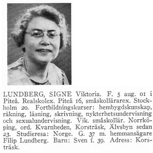 Lundberg Signe 19010805 Från Svenskt Porträttarkiv