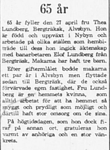 Lundberg Thea Bergträsk 65 år 26 April 1965 PT