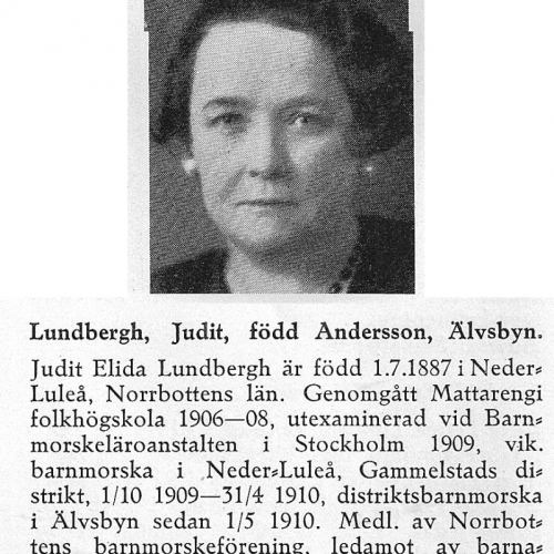 Lundbergh Judit 18870701 Från Svenskt Porträttarkiv