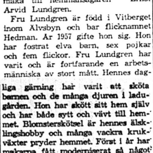 Lundgren Agnes Ulrika Brännmark 60 år 13 Juni 1959 NK