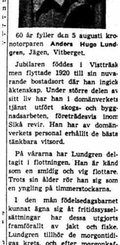 Lundgren Anders Hugo Jägen Vitberget 60 år 4  Aug 1954 NK