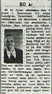 Lundgren Anna Granträsk 80 år 7 mars 1953 PT
