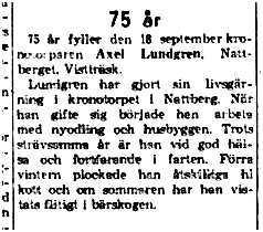 Lundgren Axel Nattberg 75 år 18 sept 1961 NK