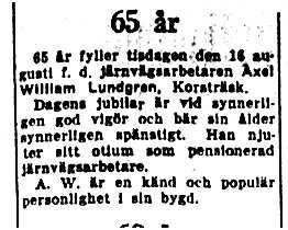 Lundgren Axel William Korsträsk 65 år 16 Aug 1949 NK