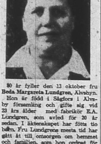 Lundgren Beda Margareta 80 år Älvsbyn 13 okt 1965 NK