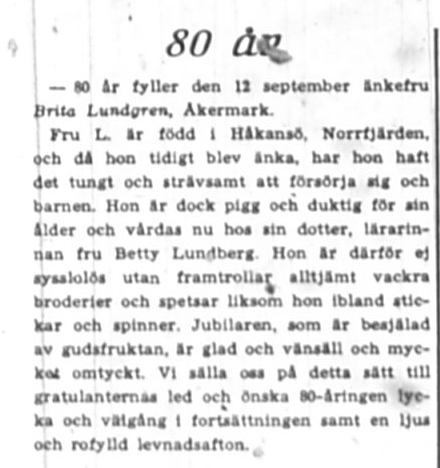 Lundgren Britta Åkermark 80 år 12 Sept 1945 NK