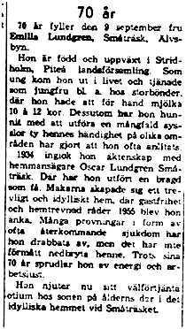Lundgren Emilia Småträsk 70 år 9 sept 1961 NK
