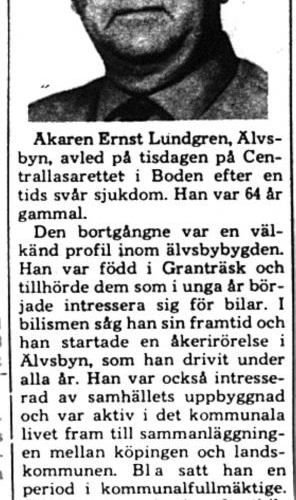 Lundgren Ernst Älvsbyn död 7 Aug 1975 PT