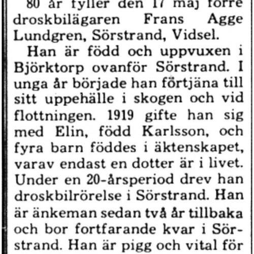 Lundgren Frans Agge Sörstrand 80 år 16 Maj 1975 PT