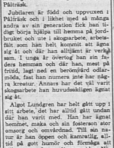 Lundgren Frans Algot Pålträsk 60 år 21 Jan PT
